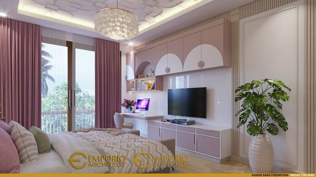 Desain Kamar Tidur Anak Perempuan Rumah Villa Bali 2 Lantai Ibu Widi di Bandung, Jawa Barat