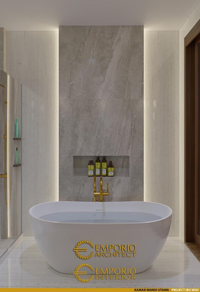 Desain Kamar Mandi Utama Rumah Villa Bali 2 Lantai Ibu Widi di Bandung, Jawa Barat