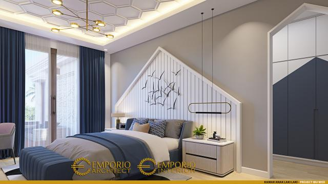 Desain Kamar Tidur Anak Laki-laki Rumah Villa Bali 2 Lantai Ibu Widi di Bandung, Jawa Barat