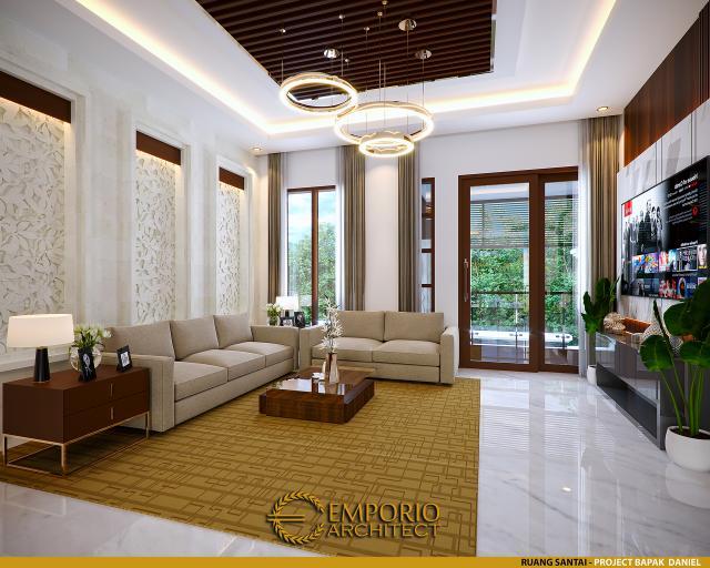 Desain Ruang Santai Rumah Villa Bali 2 Lantai Bapak Daniel di Gorontalo