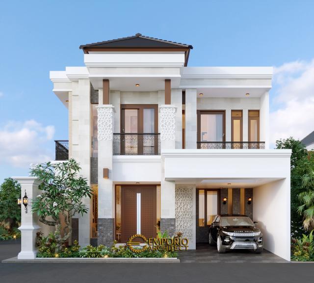 Desain Tampak Depan 2 Rumah Villa Bali Classic 2 Lantai Bapak Toni di Batam
