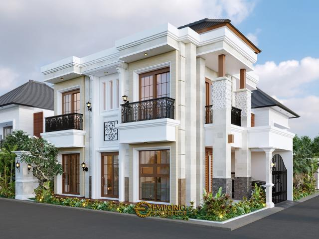 Desain Tampak Samping Rumah Villa Bali Classic 2 Lantai Bapak Toni di Batam