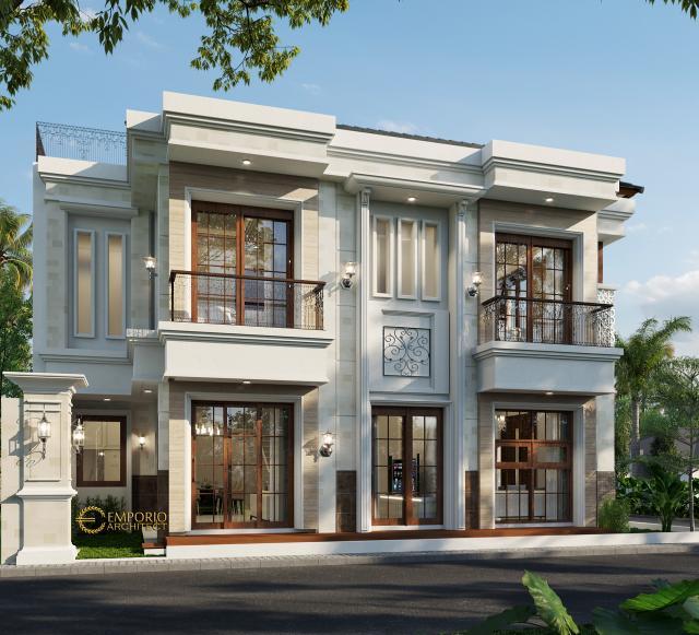 Desain Tampak Belakang Rumah Villa Bali Classic 2 Lantai Bapak Toni di Batam