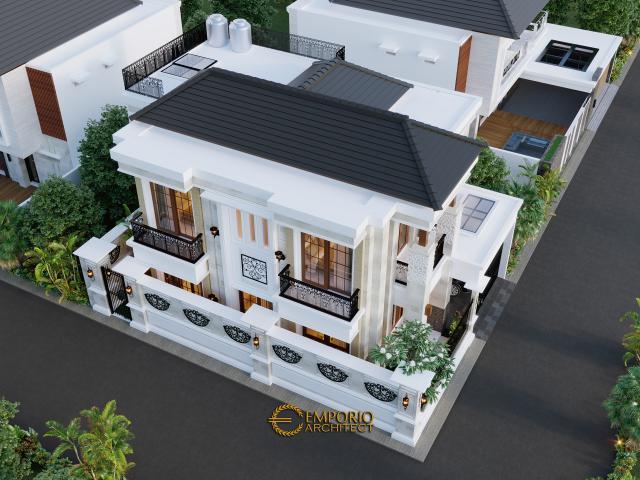 Desain Bird View Rumah Villa Bali Classic 2 Lantai Bapak Toni di Batam