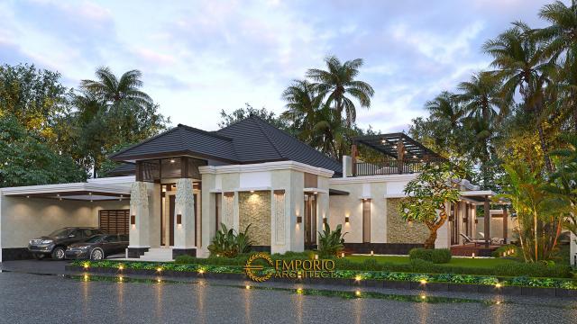 Desain Rumah Villa Bali Modern 1.5 Lantai Ibu Theresia di Cipayung, Jakarta Timur - Tampak Depan Tanpa Pagar