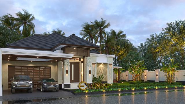 Desain Tampak Depan Tanpa Pagar 2 Rumah Villa Bali Modern 1.5 Lantai Ibu Theresia di Cipayung, Jakarta Timur