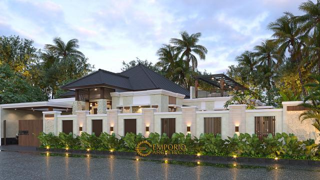 Desain Tampak Depan Dengan Pagar Rumah Villa Bali Modern 1.5 Lantai Ibu Theresia di Cipayung, Jakarta Timur
