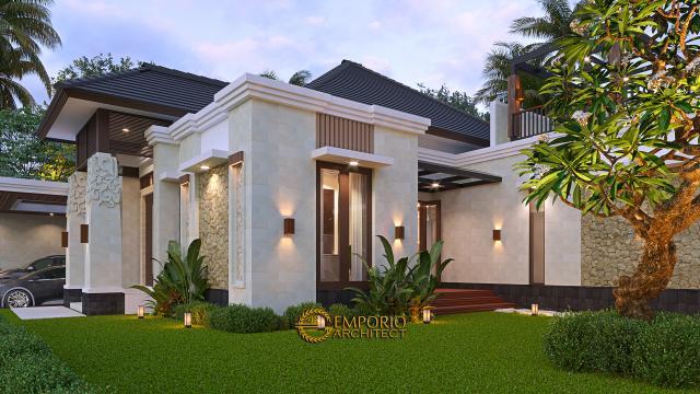 Desain Tampak Detail Depan Rumah Villa Bali Modern 1.5 Lantai Ibu Theresia di Cipayung, Jakarta Timur