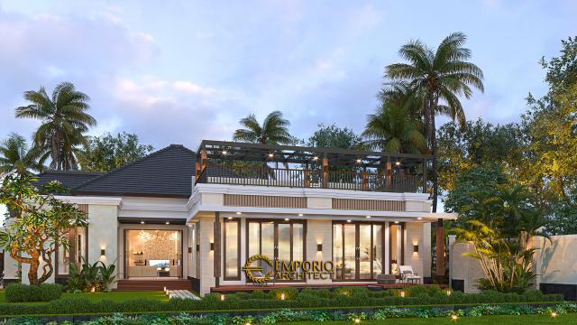 Desain Tampak Samping Rumah Villa Bali Modern 1.5 Lantai Ibu Theresia di Cipayung, Jakarta Timur