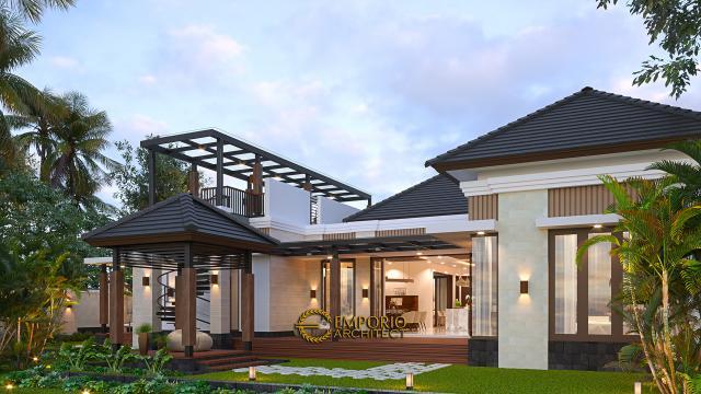 Desain Tampak Belakang Rumah Villa Bali Modern 1.5 Lantai Ibu Theresia di Cipayung, Jakarta Timur