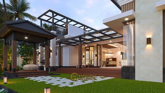 Desain Tampak Detail Belakang Rumah Villa Bali Modern 1.5 Lantai Ibu Theresia di Cipayung, Jakarta Timur