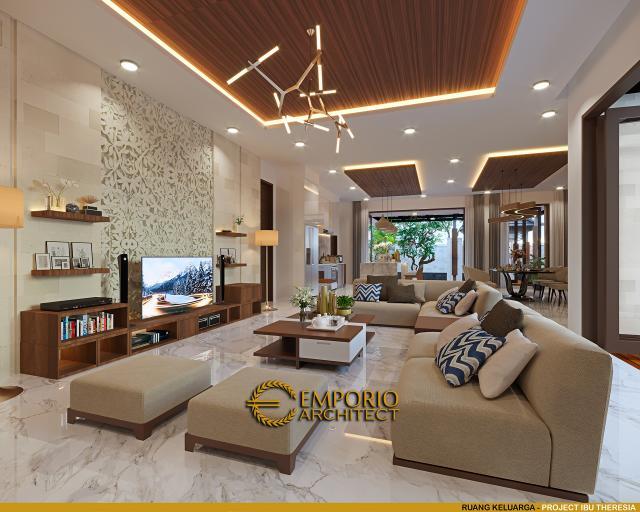 Desain Ruang Keluarga Rumah Villa Bali Modern 1.5 Lantai Ibu Theresia di Cipayung, Jakarta Timur