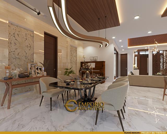 Desain Ruang Makan Rumah Villa Bali Modern 1.5 Lantai Ibu Theresia di Cipayung, Jakarta Timur