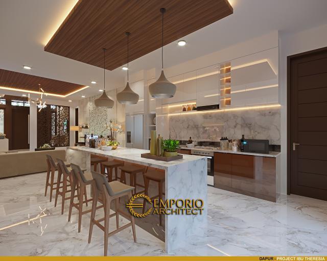 Desain Dapur Rumah Villa Bali Modern 1.5 Lantai Ibu Theresia di Cipayung, Jakarta Timur