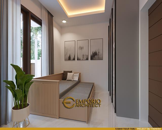 Desain Kamar Tidur Tamu Rumah Villa Bali Modern 1.5 Lantai Ibu Theresia di Cipayung, Jakarta Timur