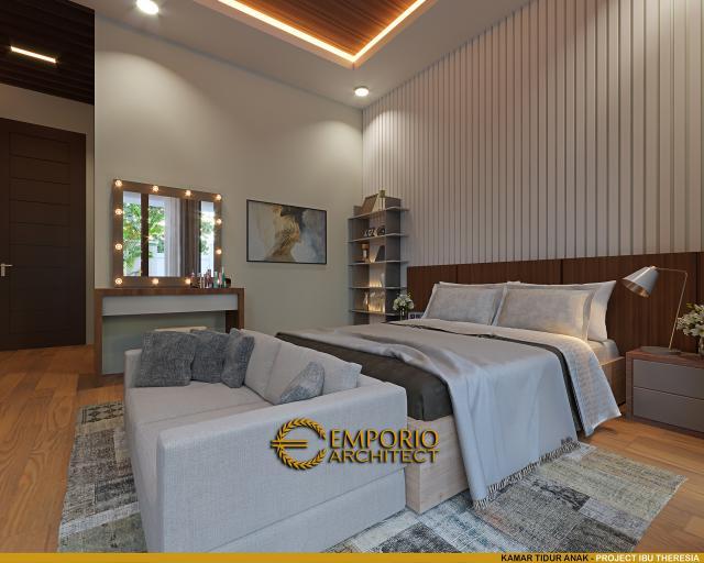 Desain Kamar Tidur Anak Rumah Villa Bali Modern 1.5 Lantai Ibu Theresia di Cipayung, Jakarta Timur