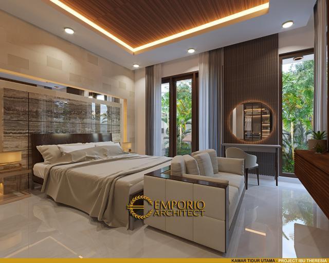 Desain Kamar Tidur Utama Rumah Villa Bali Modern 1.5 Lantai Ibu Theresia di Cipayung, Jakarta Timur