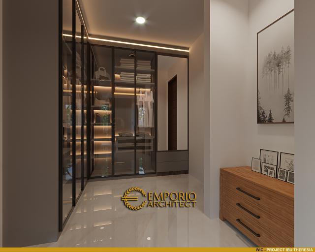 Desain Walk In Closet Rumah Villa Bali Modern 1.5 Lantai Ibu Theresia di Cipayung, Jakarta Timur