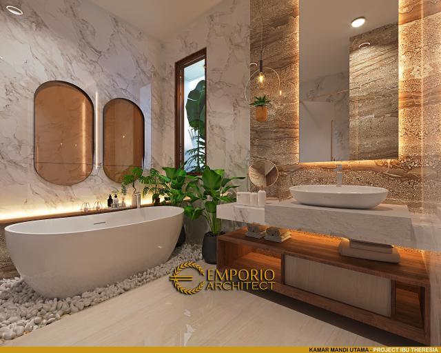 Desain Kamar Mandi Utama Rumah Villa Bali Modern 1.5 Lantai Ibu Theresia di Cipayung, Jakarta Timur