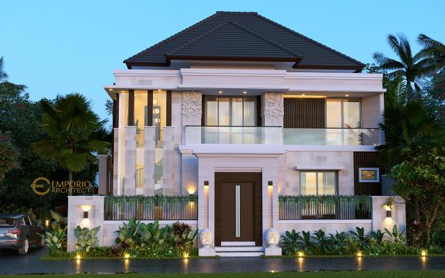 Desain Rumah Villa Bali Modern 2 Lantai Ibu Emi II di Medan, Sumatera Utara - Tampak Depan