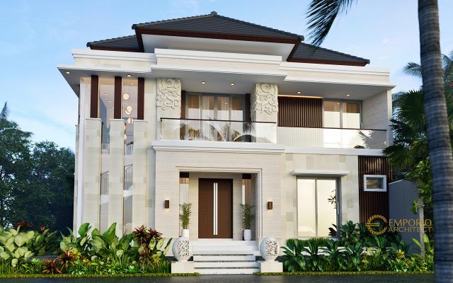 Desain Tampak Depan 2 Rumah Villa Bali Modern 2 Lantai Ibu Emi II di Medan, Sumatera Utara