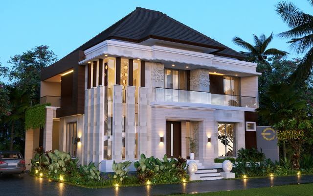 Desain Tampak Depan 3 Rumah Villa Bali Modern 2 Lantai Ibu Emi II di Medan, Sumatera Utara