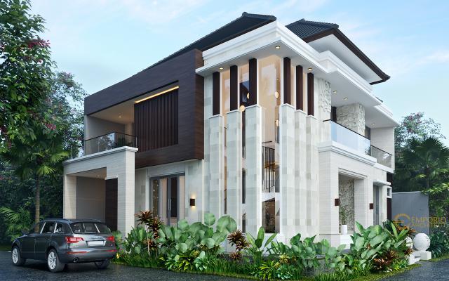 Desain Tampak Samping Rumah Villa Bali Modern 2 Lantai Ibu Emi II di Medan, Sumatera Utara