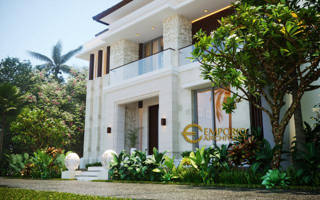 Desain Exterior Rumah Villa Bali Modern 2 Lantai Ibu Emi II di Medan, Sumatera Utara