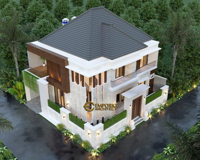 Desain Master Plan Rumah Villa Bali Modern 2 Lantai Ibu Emi II di Medan, Sumatera Utara