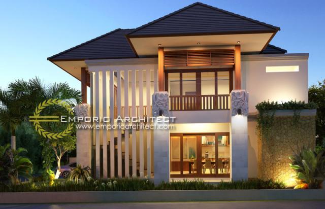 Desain Exterior 1 Rumah Villa Bali 2 Lantai Bapak Wahyu di Malang