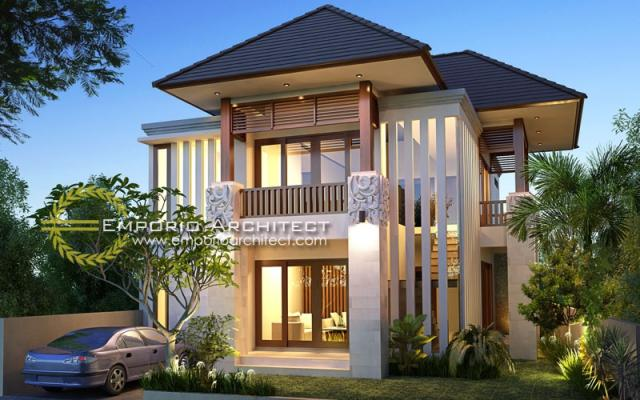 Desain Exterior 2 Rumah Villa Bali 2 Lantai Bapak Wahyu di Malang