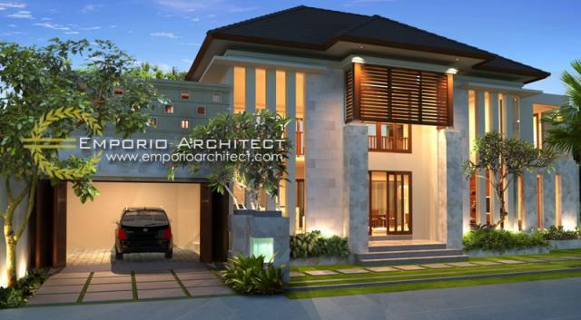 Desain Exterior 1 Rumah Villa Bali 2 Lantai Bapak Wijaya di Denpasar, Bali