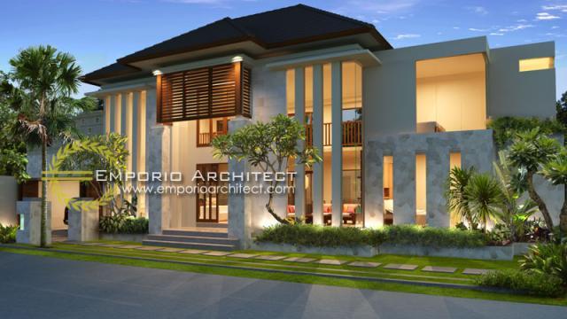Desain Exterior 2 Rumah Villa Bali 2 Lantai Bapak Wijaya di Denpasar, Bali