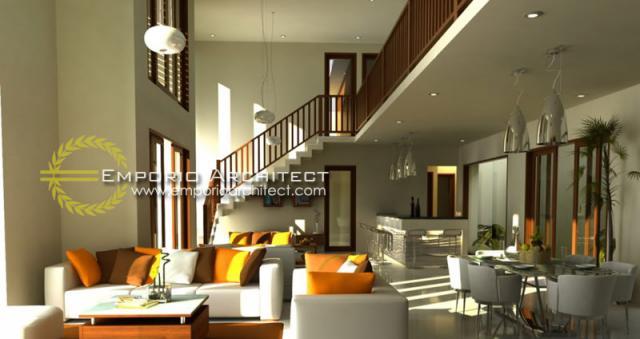 Desain Ruang Keluarga dan Ruag Makan Rumah Villa Bali 2 Lantai Bapak Wijaya di Denpasar, Bali