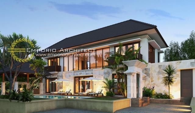 Desain Exterior 1 Rumah Villa Bali 2 Lantai Ibu Yoni di Tabanan, Bali