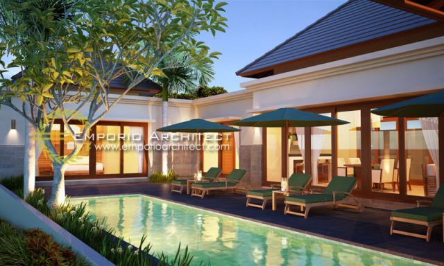 Desain Exterior 2 Villa Style Villa Bali 1 Lantai Ibu Maryam di Bali