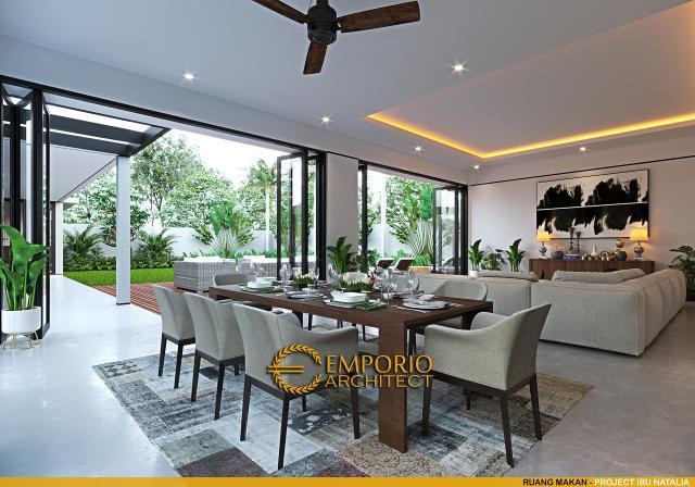Desain Ruang Makan Villa Modern 1 Lantai Ibu Natalia di Bali