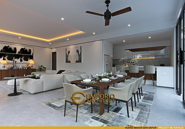 Desain Ruang Makan dan Dapur Villa Modern 1 Lantai Ibu Natalia di Bali