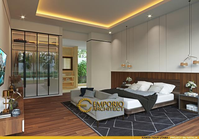 Desain Kamar Tidur Utama Villa Modern 1 Lantai Ibu Natalia di Bali