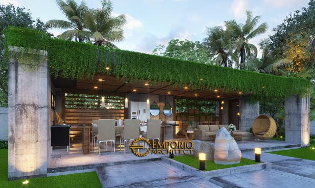 Desain Tampak Detail Ruang Bersama Villa Modern 2 Lantai Ibu Ista di Bogor