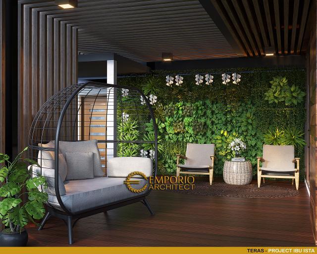 Desain Teras Villa Modern 2 Lantai Ibu Ista di Bogor
