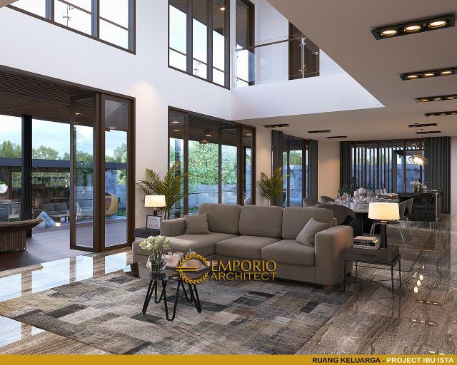 Desain Ruang Keluarga Villa Modern 2 Lantai Ibu Ista di Bogor