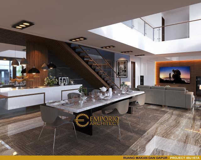 Desain Ruang Makan dan Dapur Villa Modern 2 Lantai Ibu Ista di Bogor