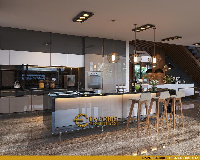 Desain Dapur Bersih Villa Modern 2 Lantai Ibu Ista di Bogor