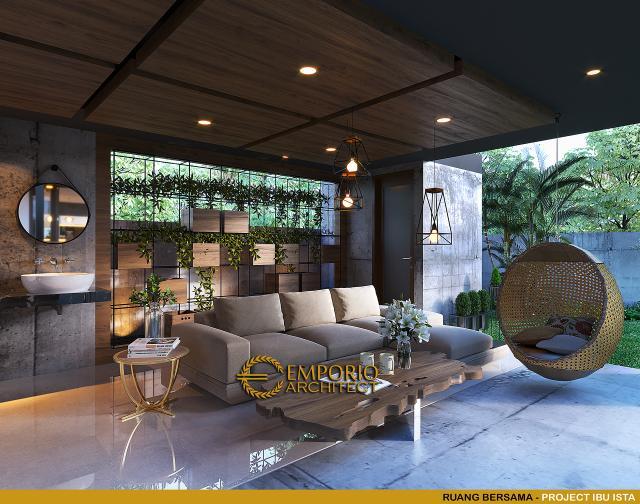 Desain Ruang Bersama Villa Modern 2 Lantai Ibu Ista di Bogor