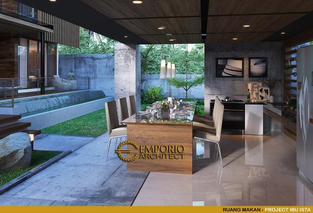 Desain Ruang Makan Villa Modern 2 Lantai Ibu Ista di Bogor