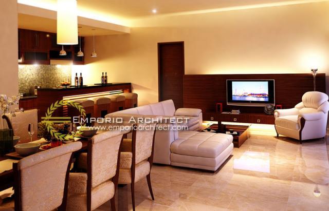 Desain Ruang Makan dan Ruang Keluarga Volcom Kenanga Villas Style Villa Bali 1 Lantai di Bali