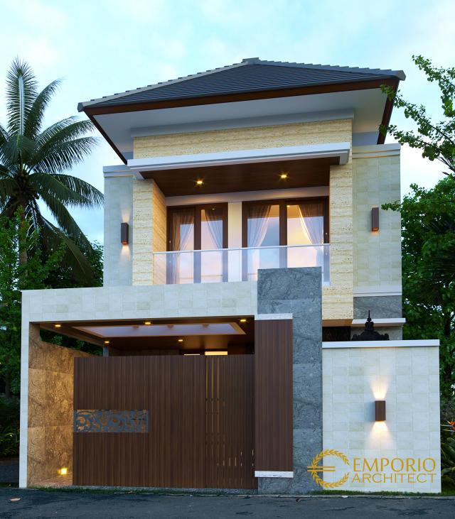 Desain Tampak Depan Dengan Pagar Rumah Modern 2 Lantai Ibu Desi di Badung, Bali