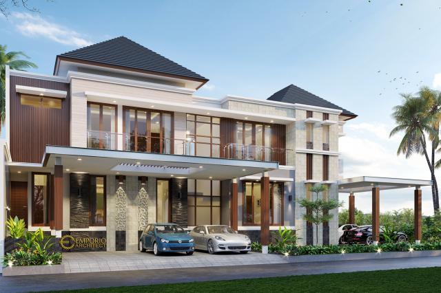 Desain Tampak Depan 1 Rumah Modern 2 Lantai Bapak Sakti di Bandar Lampung