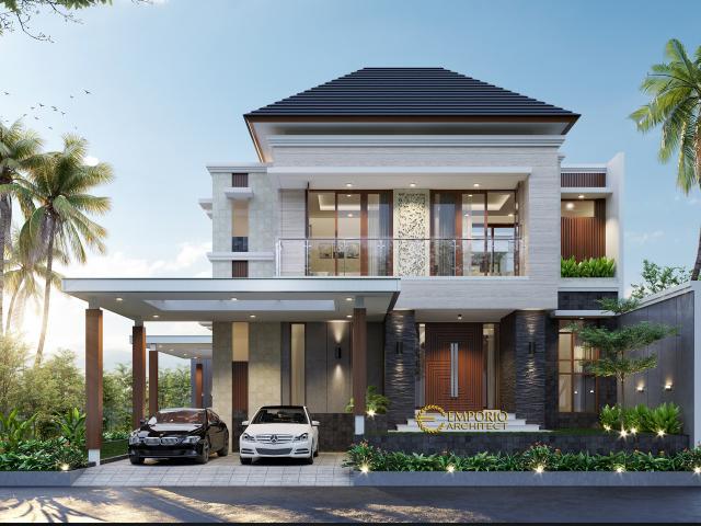 Desain Tampak Depan 2 Rumah Modern 2 Lantai Bapak Sakti di Bandar Lampung